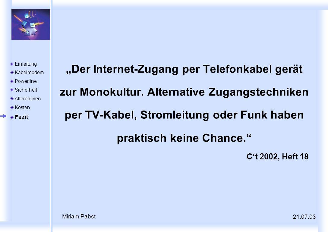 """Der Internet-Zugang per Telefonkabel gerät zur Monokultur"