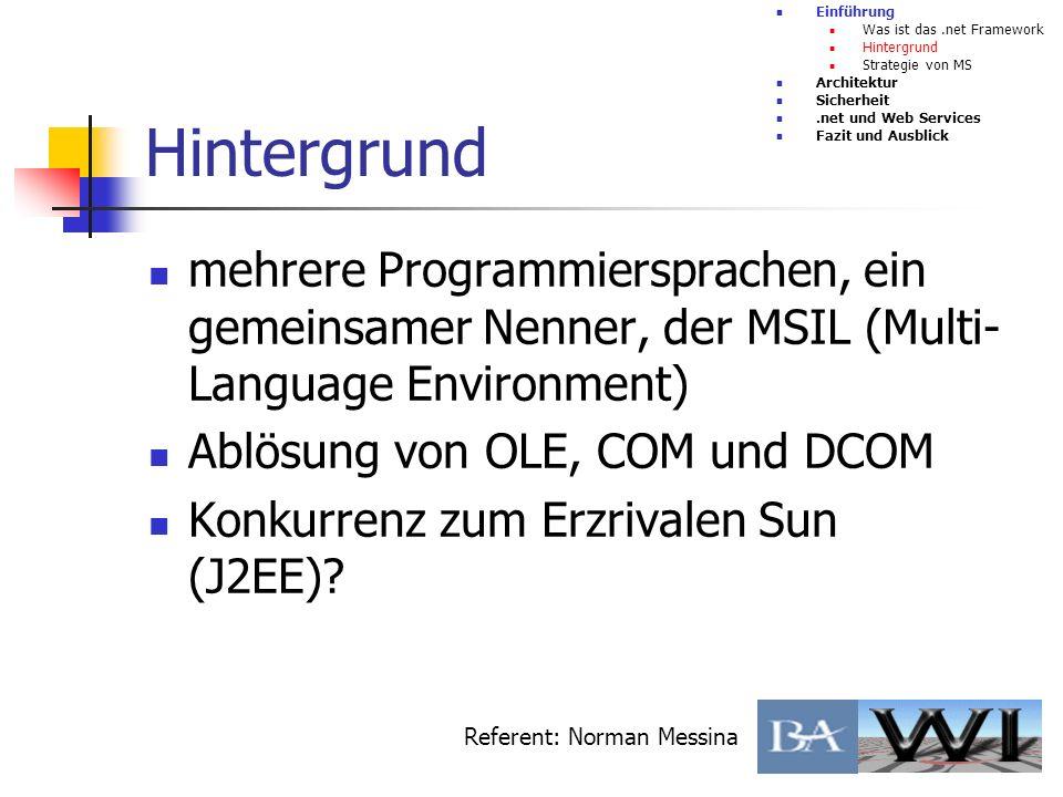 EinführungWas ist das .net Framework. Hintergrund. Strategie von MS. Architektur. Sicherheit. .net und Web Services.