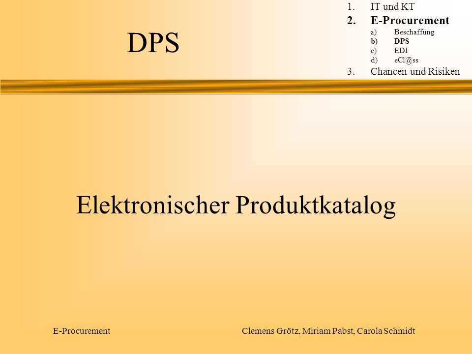 DPS Elektronischer Produktkatalog E-Procurement IT und KT