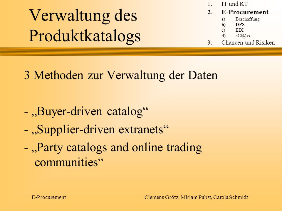 Verwaltung des Produktkatalogs