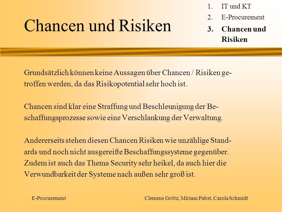 E-Procurement Clemens Grötz, Miriam Pabst, Carola Schmidt