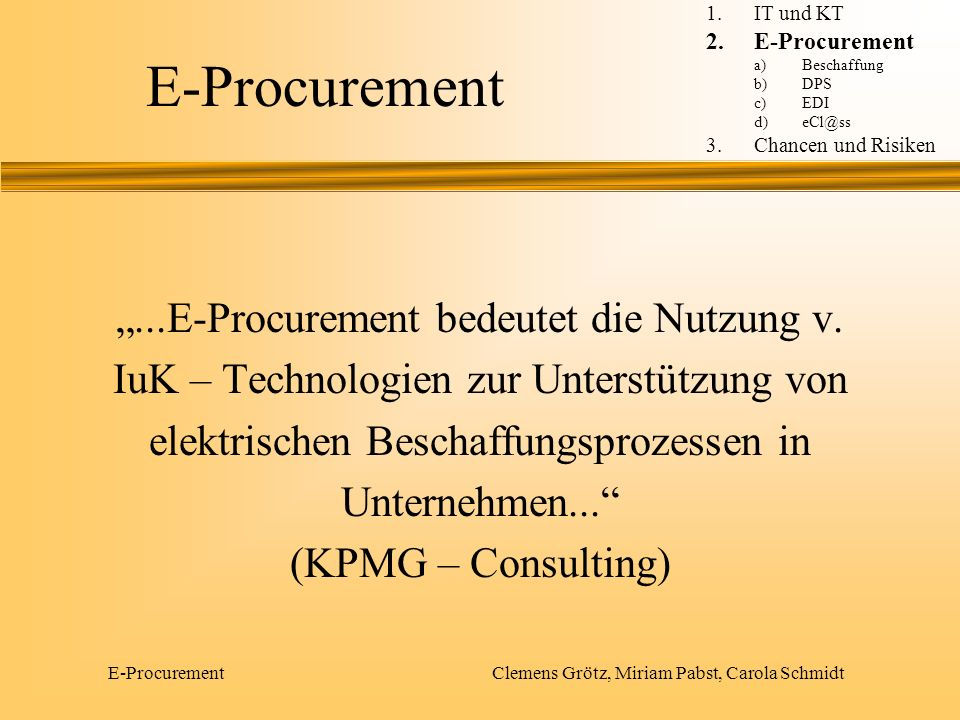 """E-Procurement """"...E-Procurement bedeutet die Nutzung v."""