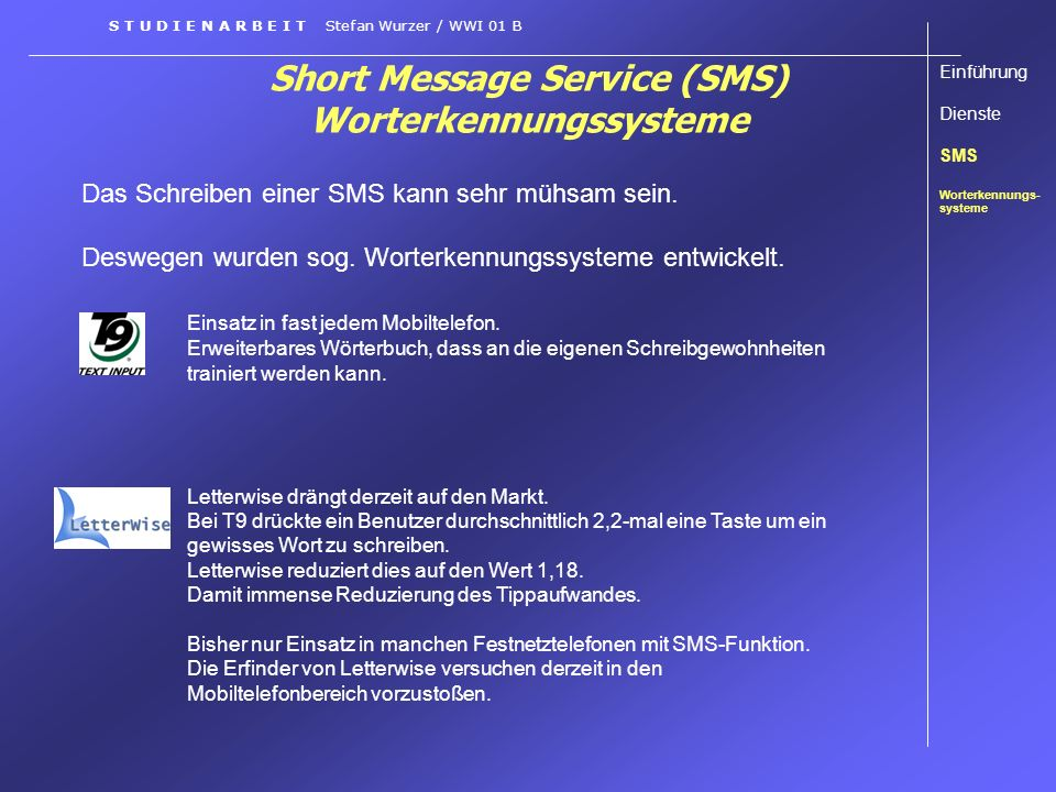 Short Message Service (SMS) Worterkennungssysteme