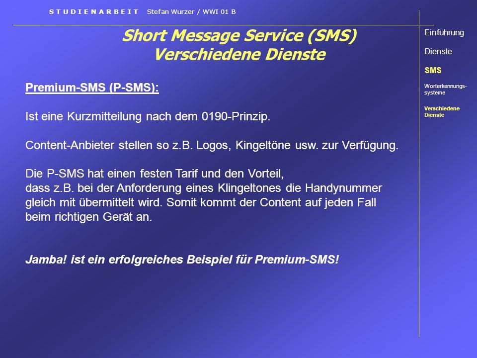 Short Message Service (SMS) Verschiedene Dienste