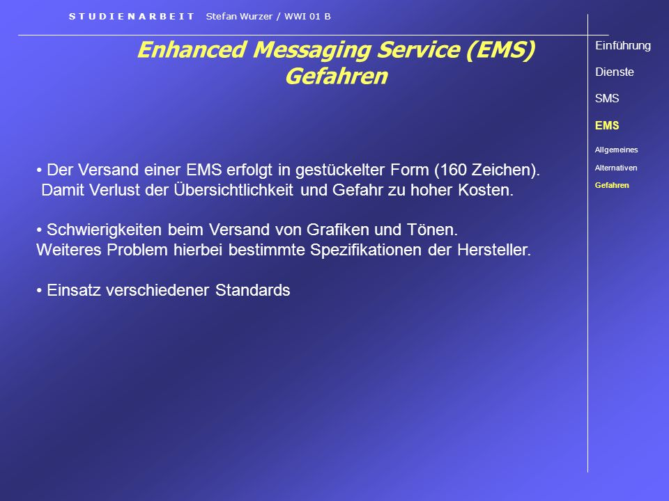 Enhanced Messaging Service (EMS) Gefahren