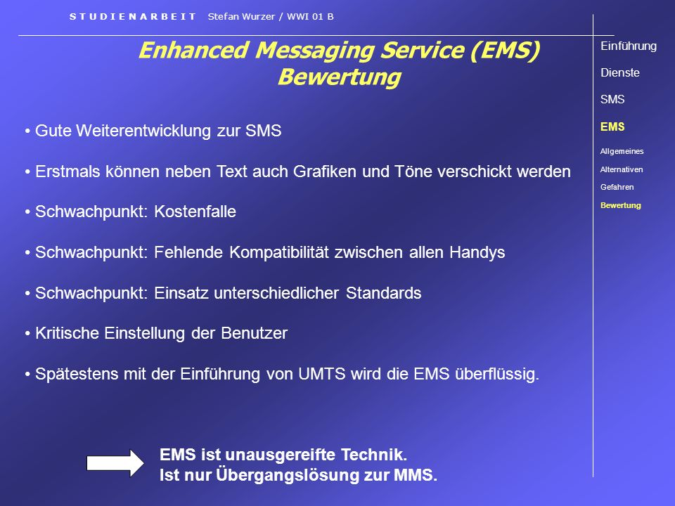 Enhanced Messaging Service (EMS) Bewertung