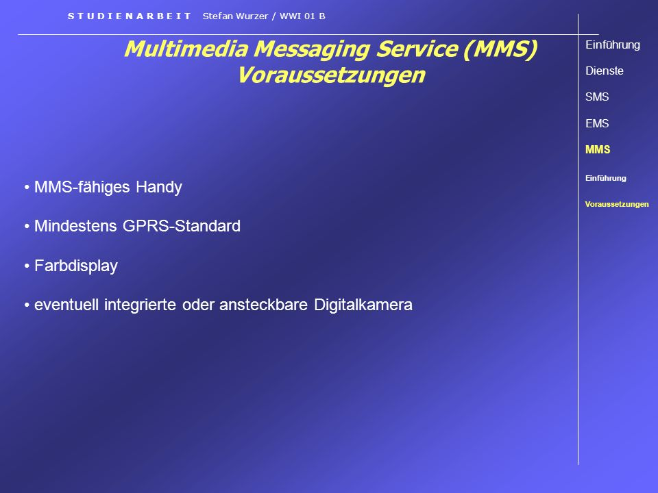 Multimedia Messaging Service (MMS) Voraussetzungen