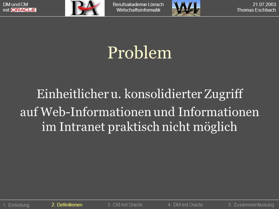 Problem Einheitlicher u. konsolidierter Zugriff