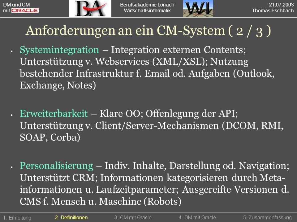 Anforderungen an ein CM-System ( 2 / 3 )