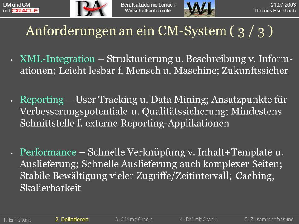Anforderungen an ein CM-System ( 3 / 3 )