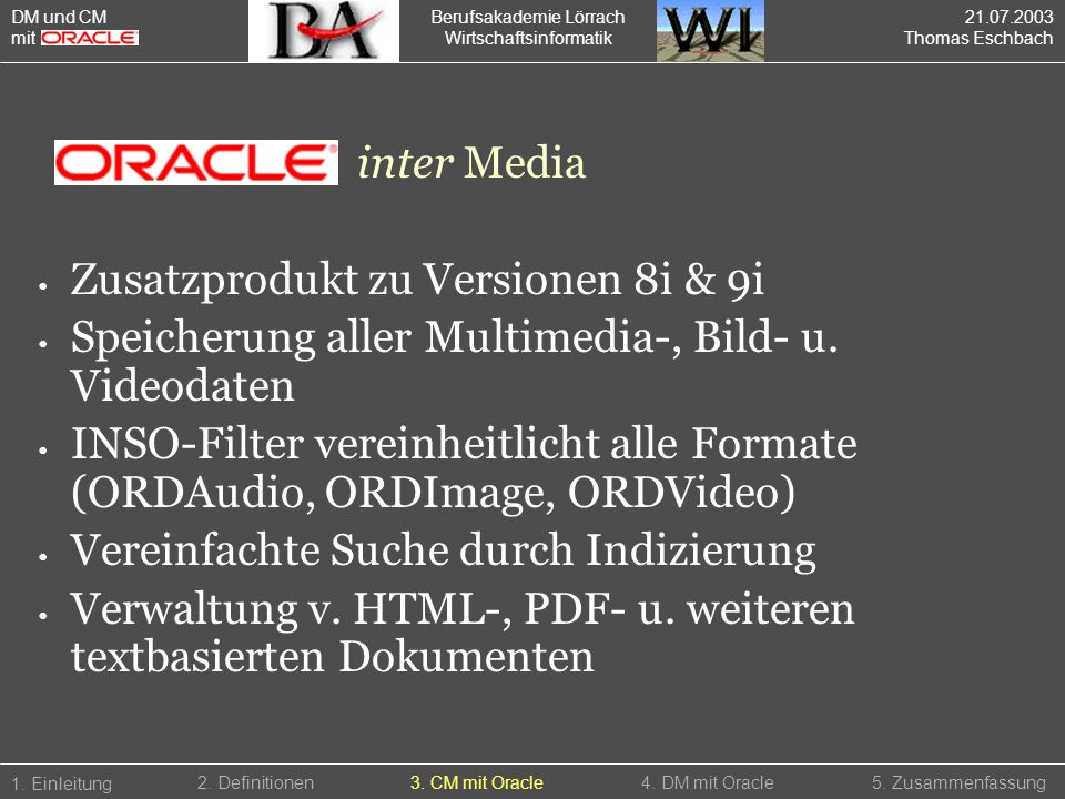 Zusatzprodukt zu Versionen 8i & 9i