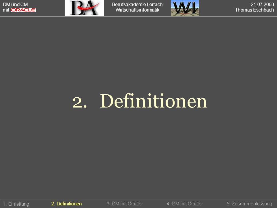 2. Definitionen DM und CM mit Berufsakademie Lörrach