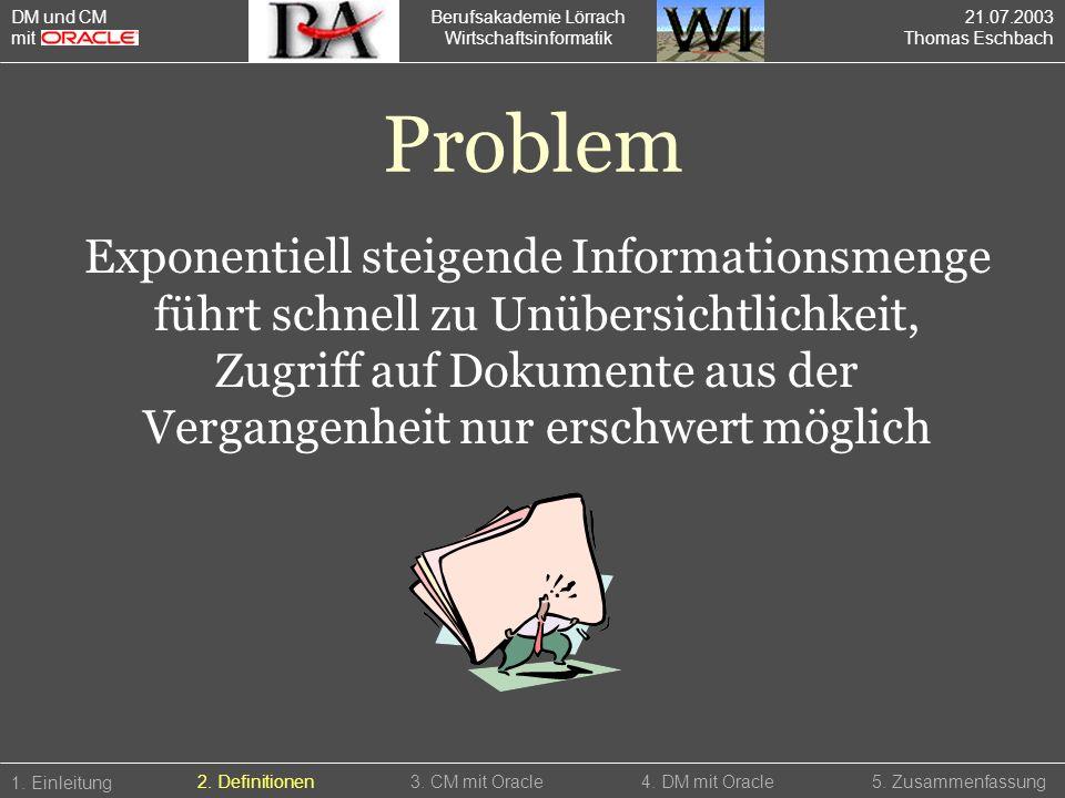 DM und CM mit. Berufsakademie Lörrach. Wirtschaftsinformatik. 21.07.2003. Thomas Eschbach. Problem.
