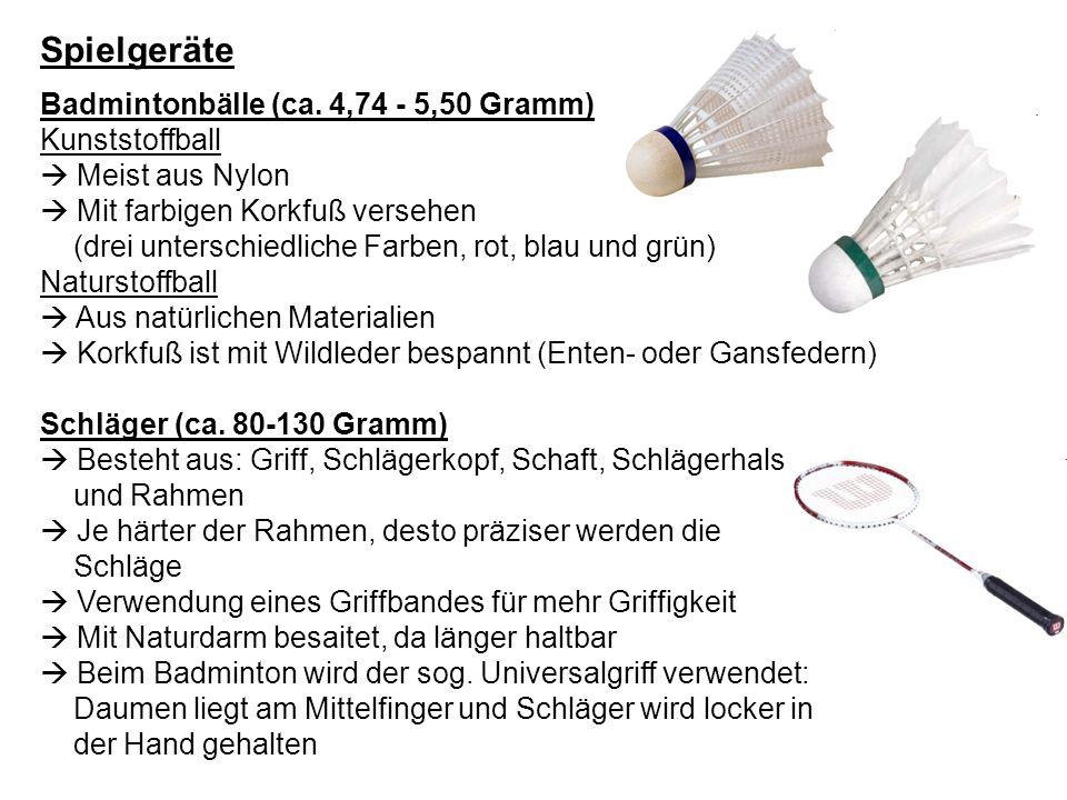 Spielgeräte Badmintonbälle (ca. 4,74 - 5,50 Gramm) Kunststoffball  Meist aus Nylon  Mit farbigen Korkfuß versehen.