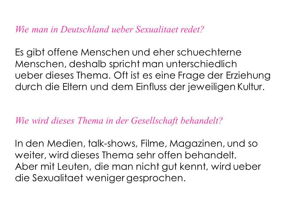 Wie man in Deutschland ueber Sexualitaet redet