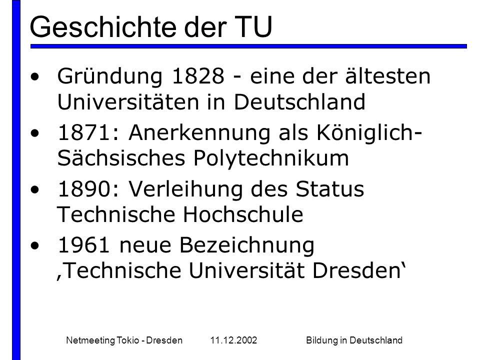 Netmeeting Tokio - Dresden 11.12.2002 Bildung in Deutschland