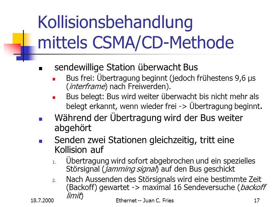 Kollisionsbehandlung mittels CSMA/CD-Methode