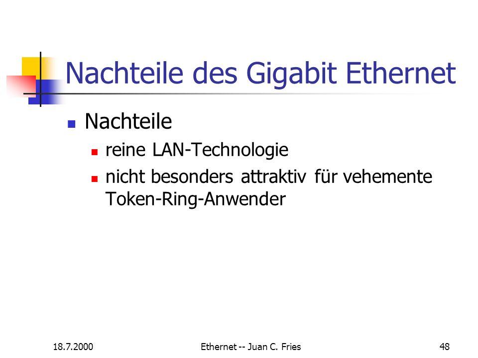 Nachteile des Gigabit Ethernet