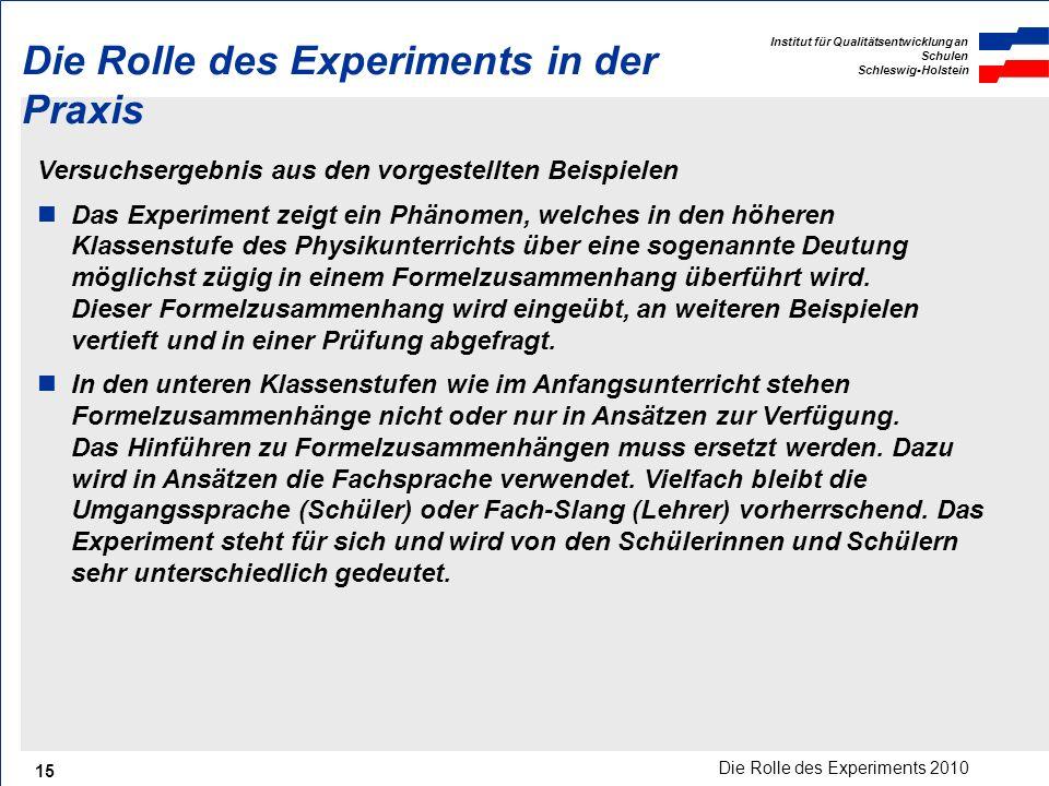 Die Rolle des Experiments in der Praxis