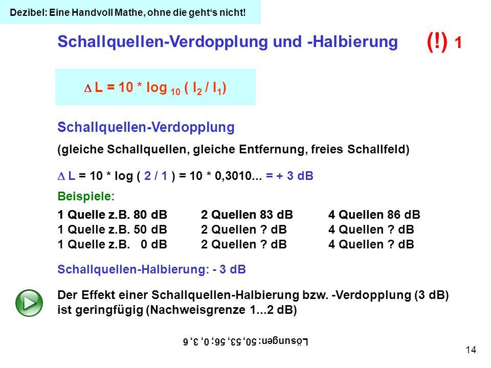 (!) 1 Schallquellen-Verdopplung und -Halbierung