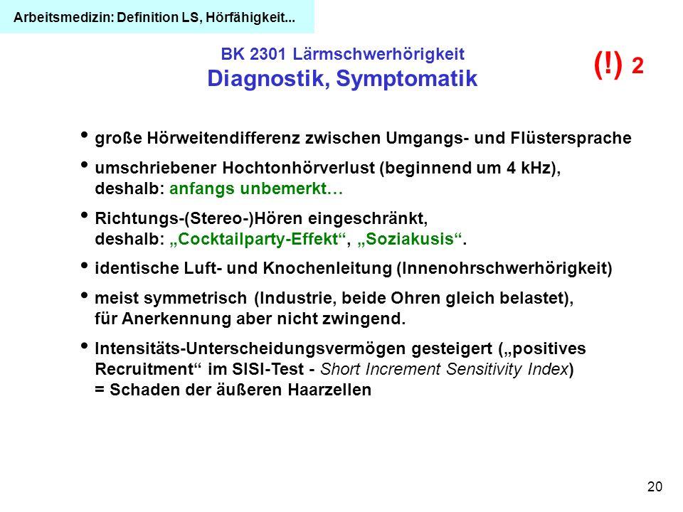 BK 2301 Lärmschwerhörigkeit Diagnostik, Symptomatik