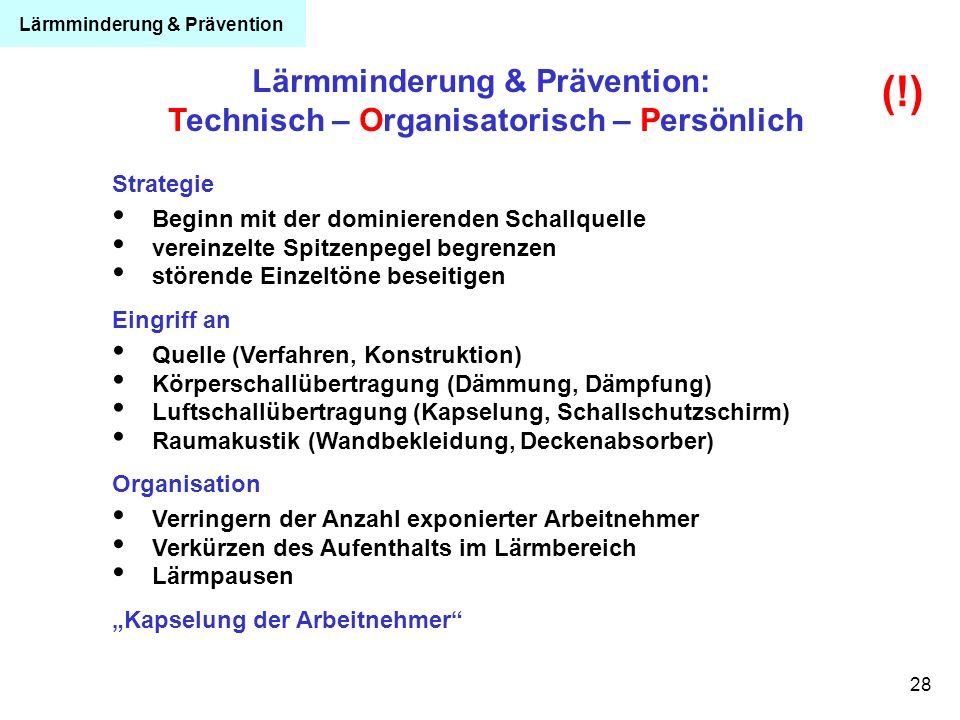 Lärmminderung & Prävention: Technisch – Organisatorisch – Persönlich