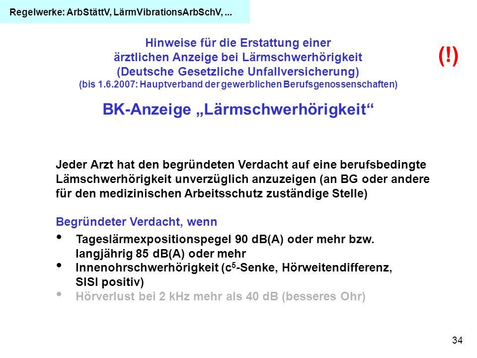 """(!) BK-Anzeige """"Lärmschwerhörigkeit"""