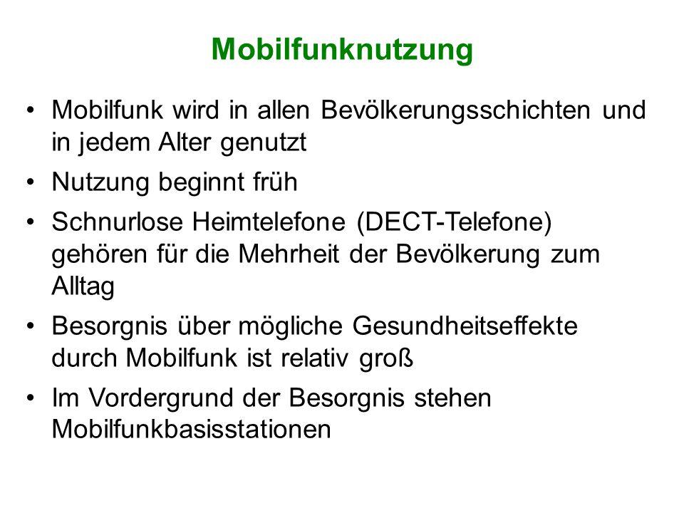 Mobilfunknutzung Mobilfunk wird in allen Bevölkerungsschichten und in jedem Alter genutzt. Nutzung beginnt früh.
