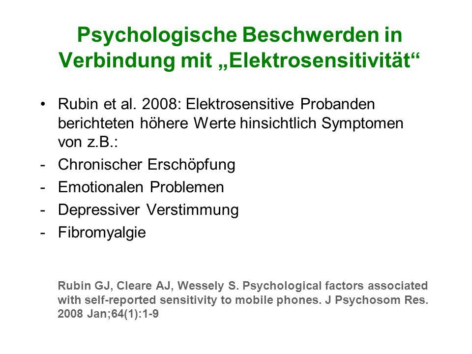 """Psychologische Beschwerden in Verbindung mit """"Elektrosensitivität"""