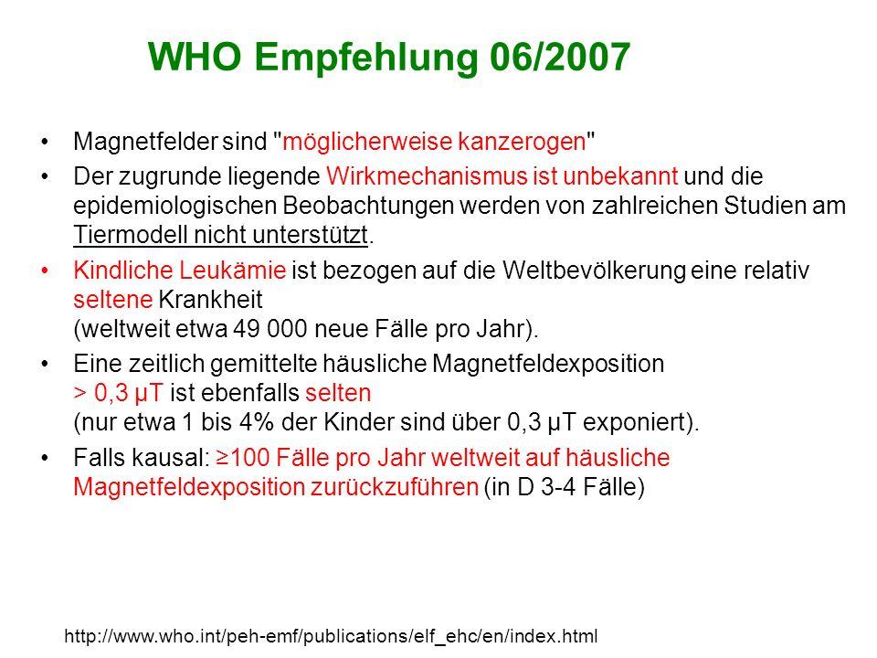 WHO Empfehlung 06/2007 Magnetfelder sind möglicherweise kanzerogen