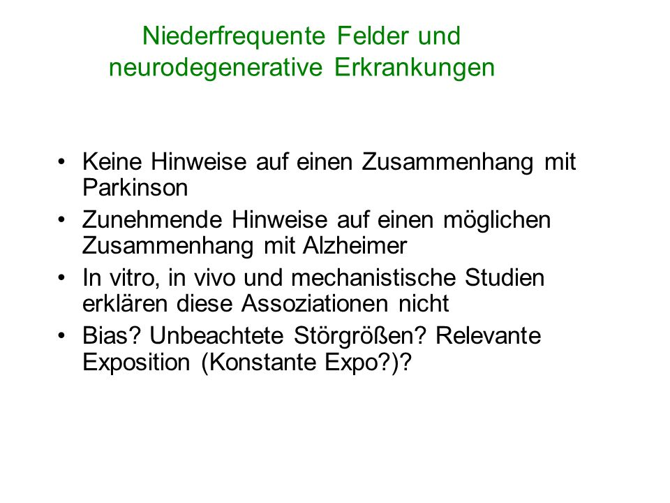 Niederfrequente Felder und neurodegenerative Erkrankungen