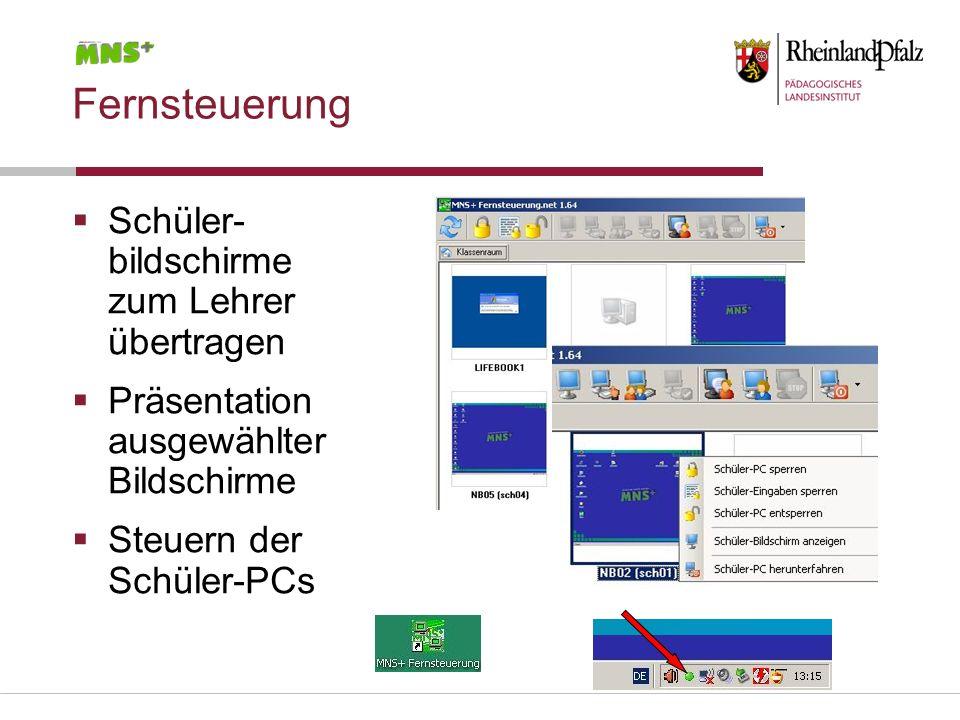 Fernsteuerung Schüler- bildschirme zum Lehrer übertragen