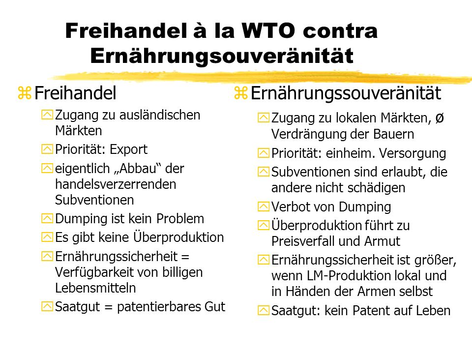 Freihandel à la WTO contra Ernährungsouveränität