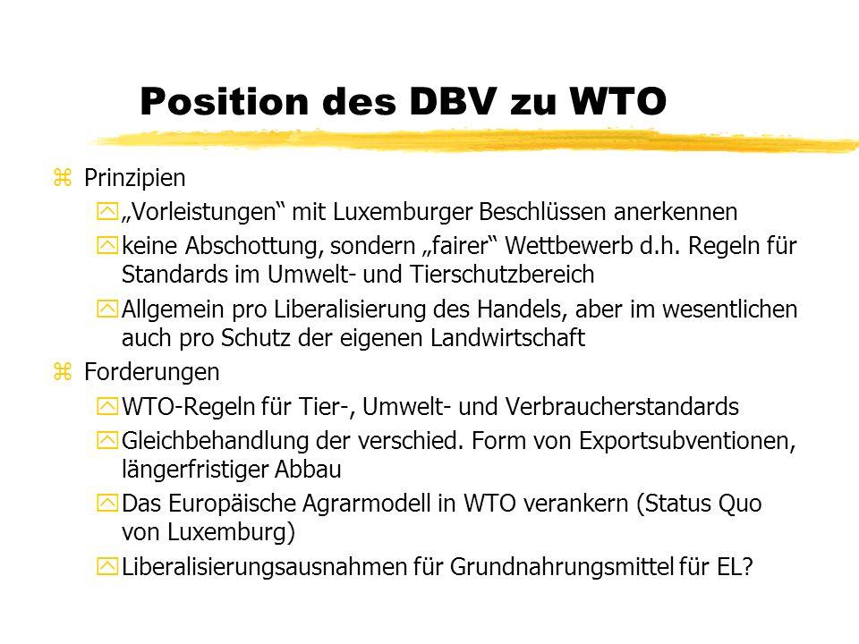 Position des DBV zu WTO Prinzipien