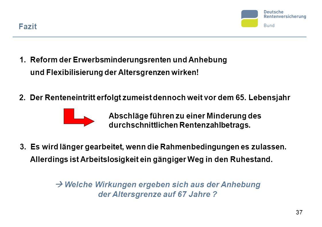 Fazit 1. Reform der Erwerbsminderungsrenten und Anhebung und Flexibilisierung der Altersgrenzen wirken!