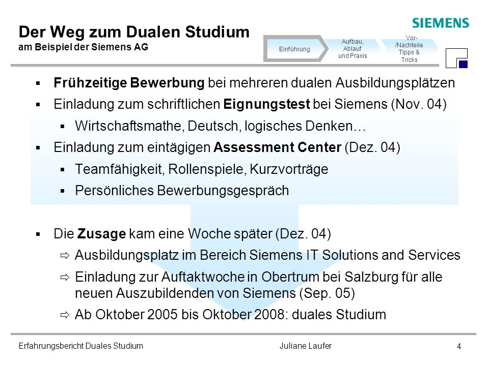 Der Weg zum Dualen Studium am Beispiel der Siemens AG