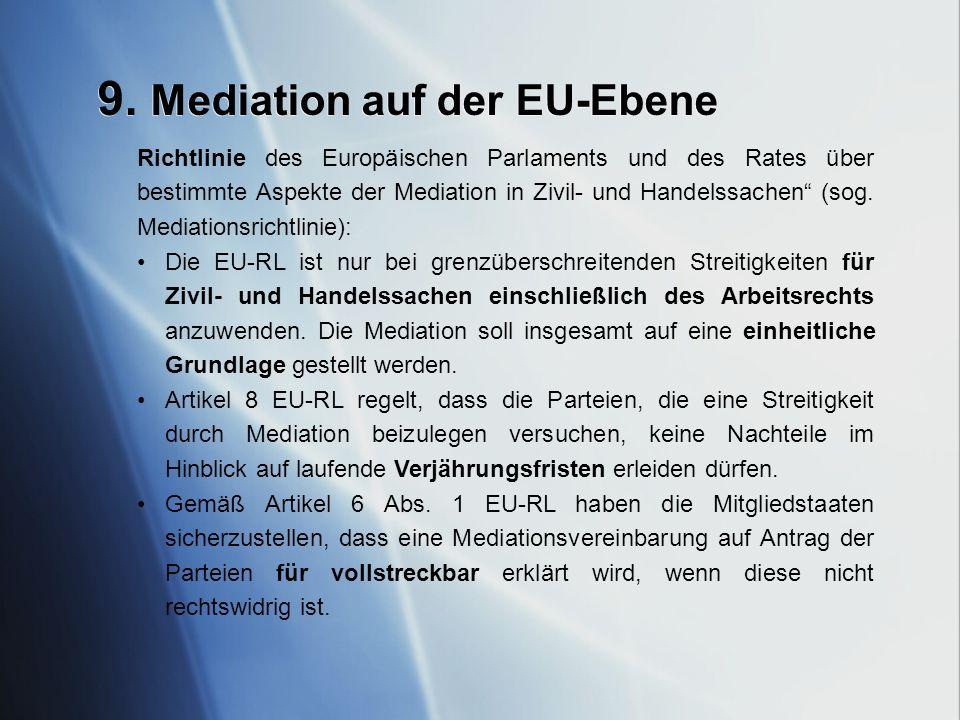 9. Mediation auf der EU-Ebene
