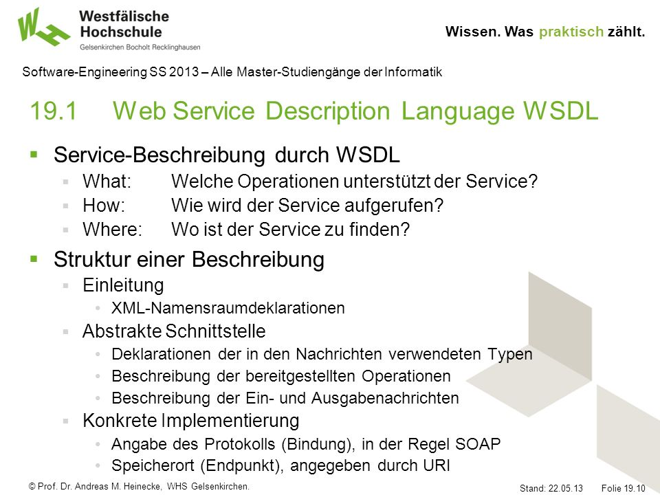 19.1 Web Service Description Language WSDL