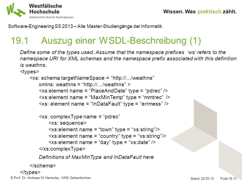 19.1 Auszug einer WSDL-Beschreibung (1)