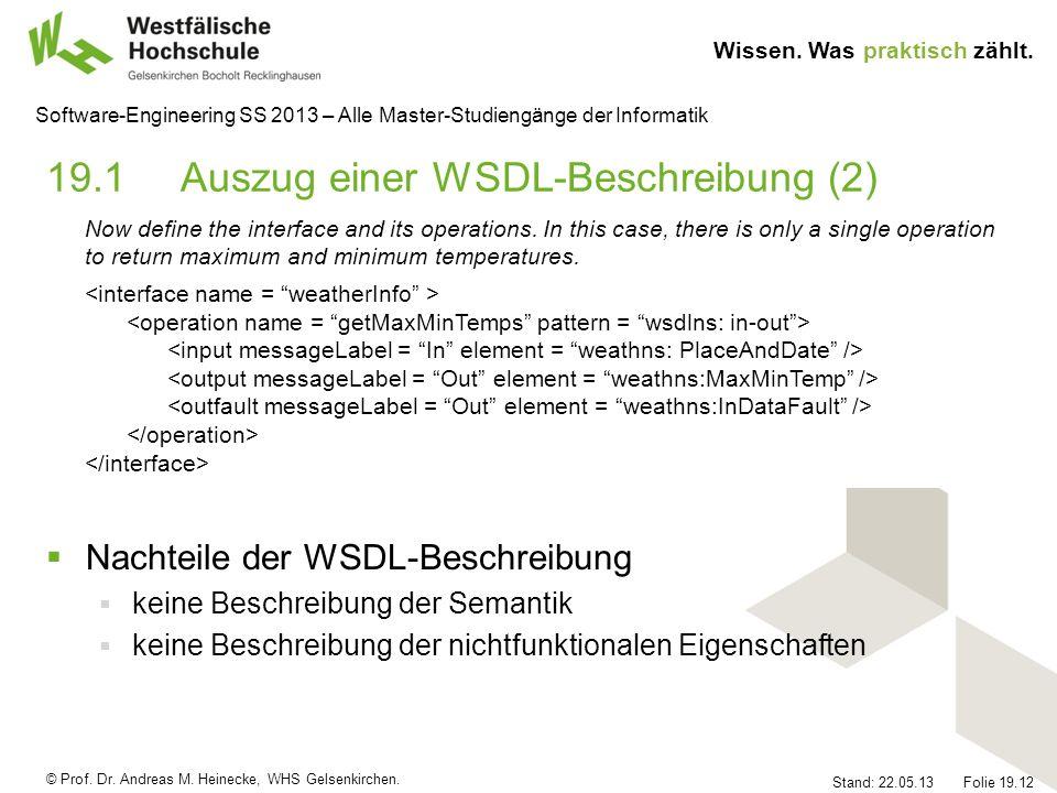 19.1 Auszug einer WSDL-Beschreibung (2)