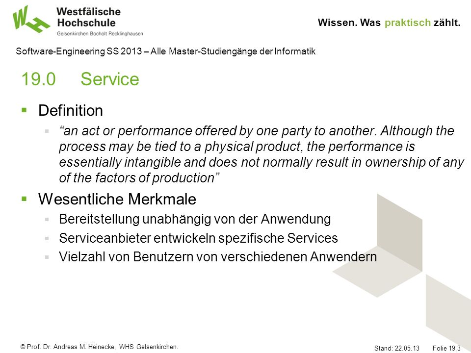 19.0 Service Definition Wesentliche Merkmale