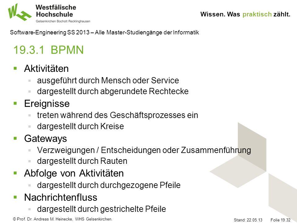 19.3.1 BPMN Aktivitäten Ereignisse Gateways Abfolge von Aktivitäten