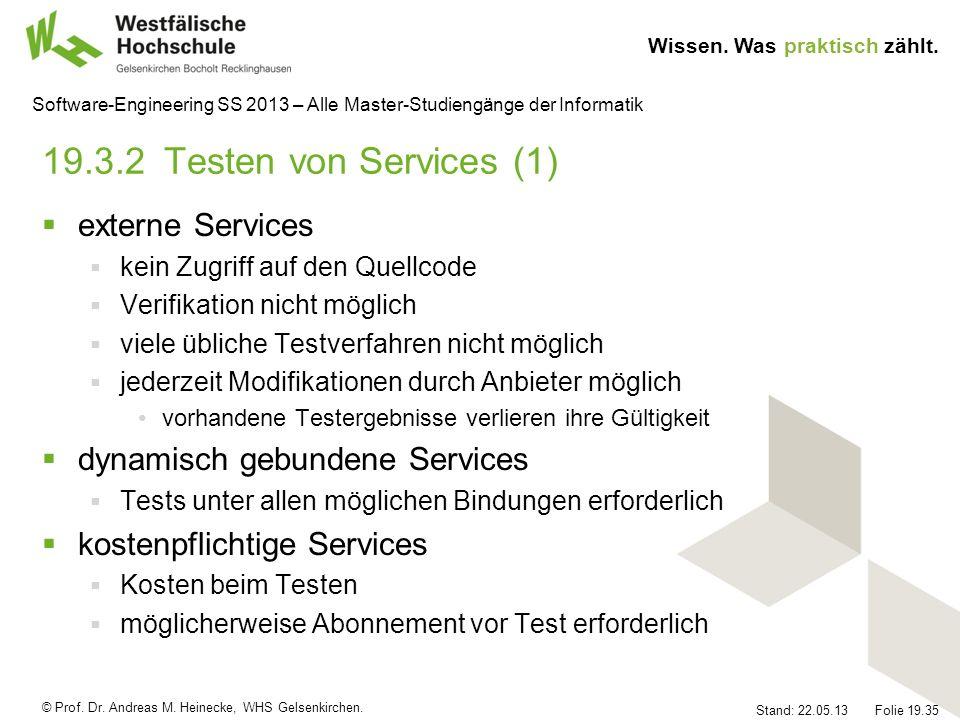 19.3.2 Testen von Services (1) externe Services
