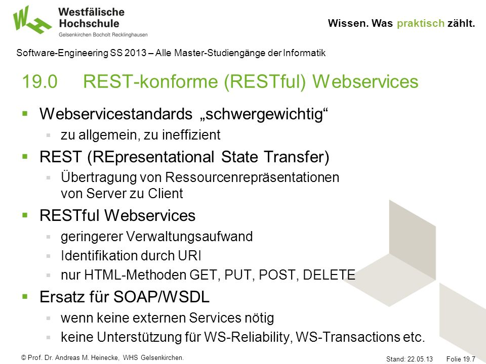 19.0 REST-konforme (RESTful) Webservices