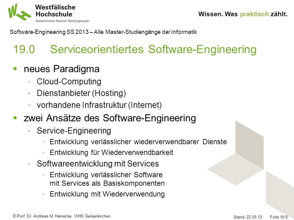 19.0 Serviceorientiertes Software-Engineering