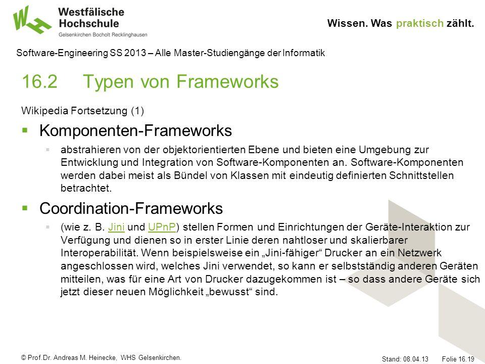 16.2 Typen von Frameworks Komponenten-Frameworks