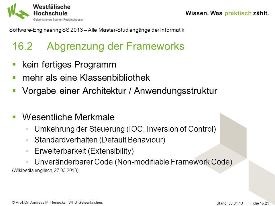 16.2 Abgrenzung der Frameworks