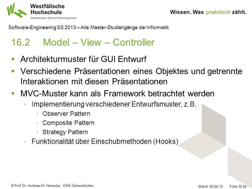 16.2 Model – View – Controller
