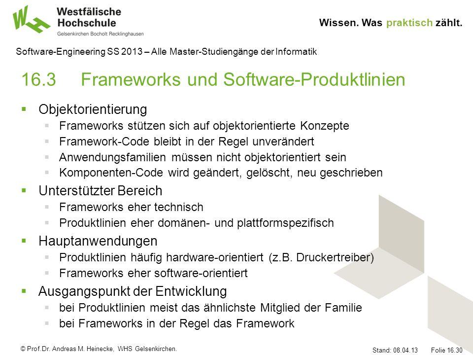 16.3 Frameworks und Software-Produktlinien