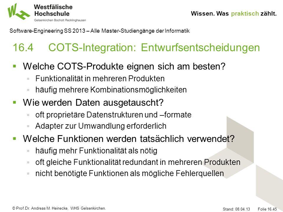 16.4 COTS-Integration: Entwurfsentscheidungen
